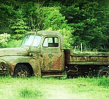 Vintage International Truck abandoned truck in field by jemvistaprint