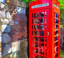 Avebury Village - Red Phone Box by Mark Tisdale