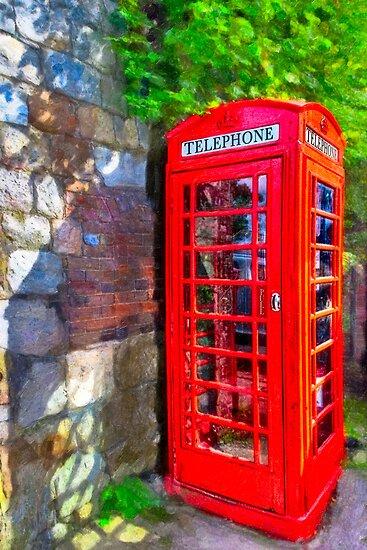 Avebury Village - Red British Phone Box by Mark Tisdale