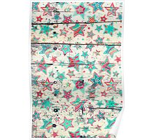 Grunge Stars on Shabby Chic White Painted Wood Poster