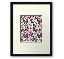 Colorful Retro Butterfly's And Flowers Pattern Framed Print