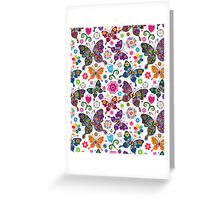 Colorful Retro Butterfly's And Flowers Pattern Greeting Card