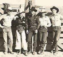 Gerald Roberts, Paul Gould, Luis Brooks, Bud & Bill Linderman At The Phoenix Rodeo 1943 by Robert Stanford
