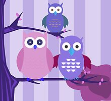 Purple Owls by Adamzworld