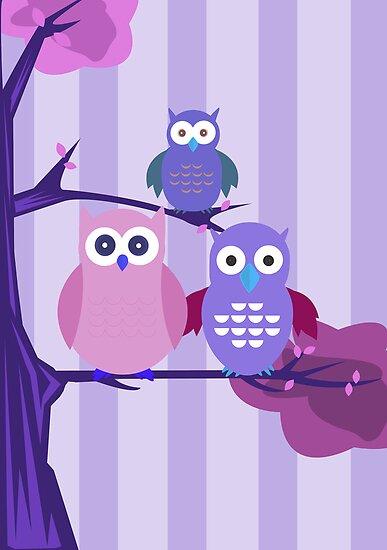 Purple Owls by Adamzworld