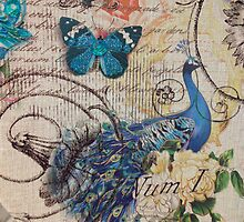 vintage paris fashion peacock scripts design by lfang77