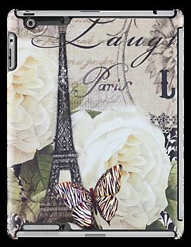 vintage scripts white rose paris eiffel tower by lfang77