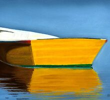 Boat Reflection Pastel by AngelaBishop