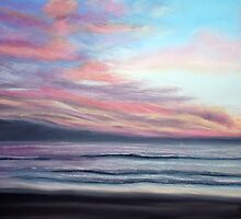 Sunset Beach Pastel by AngelaBishop