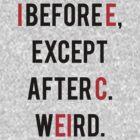 Funny Grammar I Before E T Shirt by flippinsg