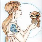 A Word to the Wise - Owl Watercolor Painting by Concetta Kilmer