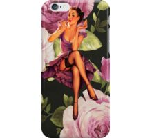vintage purple roses pin up girl iPhone Case/Skin