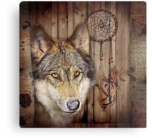 western country native dream catcher wolf art Metal Print