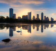 Texas Images - Austin Skyline September Sunrise by RobGreebonPhoto