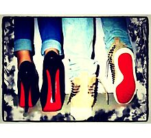 His and Hers Red Bottom Heels and Sneakers Photographic Print