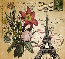 vintage retro paris eiffel tower lily floral botanical art by lfang77