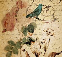 vintage bird roses floral botanical art  by lfang77