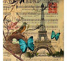 vintage paris eiffel tower music notes botanical art Photographic Print