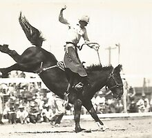 "Jack Wade On Gene Autry's Bronc - ""Trail Tramp"" - 1940's Dublin, Texas by Robert Stanford"