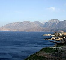 View of Mountains from Water Inlet on Island of Crete in Greece 4 by JaguarJulie