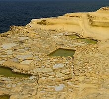 Salt pans on Gozo Island, Malta by Gabor Pozsgai