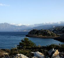 View of Mountains from Water Inlet on Island of Crete in Greece 5 by JaguarJulie