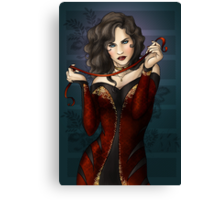 Gothic Girl With Red Ribbon Canvas Print