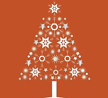 Christmas Tree Made Of Snowflakes On Orange Background by taiche