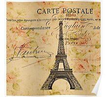 vintage floral paris eiffel tower fashion Poster