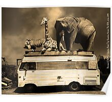 Barnum and Baileys Fabulous Road Trip Vacation Across The USA Circa 2013 5D22705 sepia with text Poster