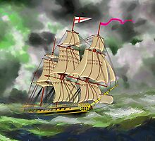 HMS Boreas, captain Horatio Nelson, in Stormy Weather by Dennis Melling