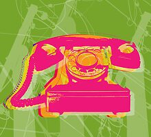 Rotary phone Pop Art print. by minjean