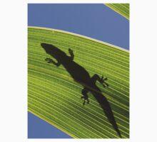 Silhouette Of A Phelsuma Day Gecko On A Palm Leaf. Kids Clothes