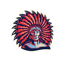 Native American Indian Chief Warrior Retro by patrimonio