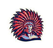Native American Indian Chief Warrior Retro by patrimonio