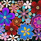 Pop Art Flowers on Black by Catherina Amor
