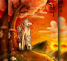Okami wolf and pup by NZwolf