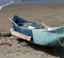 Blue Fishing Boat on the Beach by rhamm