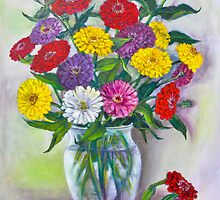 Zinnias by Randy  Burns
