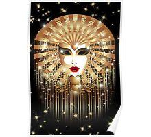 Golden Venice Carnival Mask  Poster
