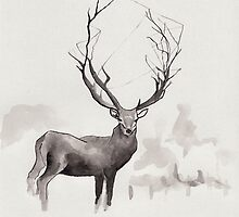 Deer in the fog by Marikohandemade