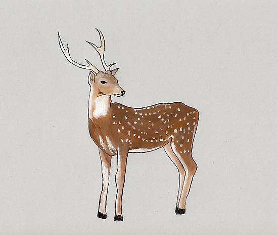 Nursery art - Deer that turns wishes by Marikohandemade