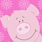 Happy Pig iPhone Case - Pink by JessDesigns