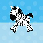 Sweet Cute Zebra Blue Dot iPhone Case by JessDesigns