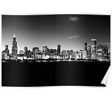 B&W Chicago Skyline Poster