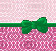 Artistic Quatrefoil - Ribbon, Bow - Pink White Green by sitnica