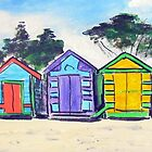 Beach Huts Colourful by gillsart