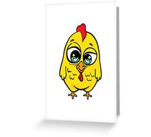 Funny yellow crazy chicken.  Greeting Card