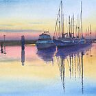 Harbour at dusk by John Rees by HurstPainters