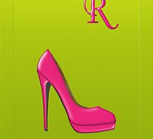 Stylish pink shoe for her, monogram R by Monartcanadian